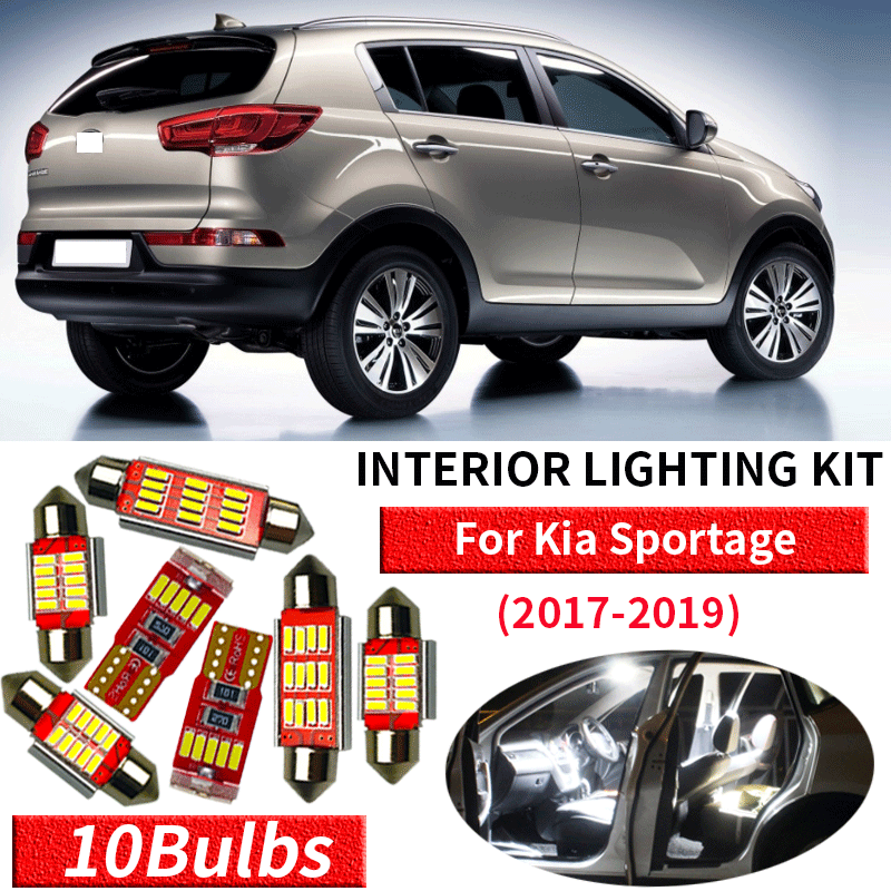 10x Canbus Error Free LED Interior Light Kit Package For 2017-2019 Kia Sportage Accessories Map Dome Trunk License Light