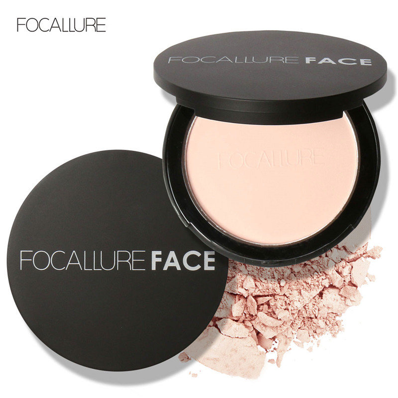 FOCALLURE mineral face pressed powder oil control natural foundation powder 3 colors Smooth finish concealer setting powder