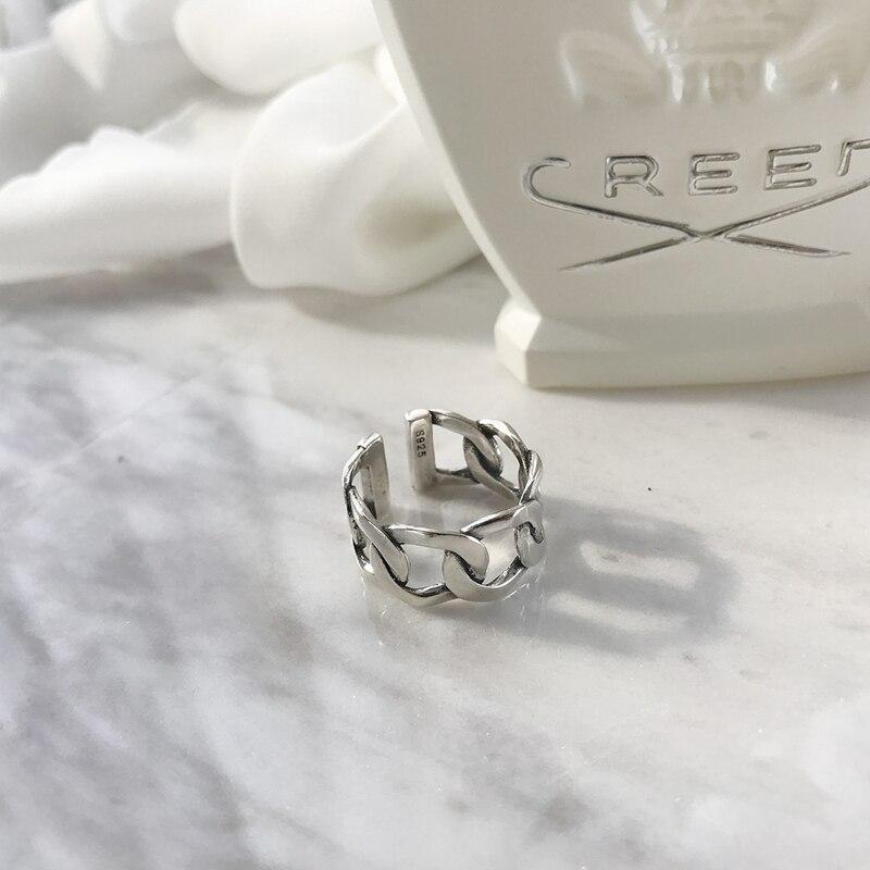 Image 2 - LouLeur, серебро 925 пробы, широкая цепочка, кольца, серебро, Ретро стиль, дикая квадратная полоса, цепь, открытые кольца для женщин, серебро 925, ювелирное изделие, подарок-in Кольца from Украшения и аксессуары on AliExpress