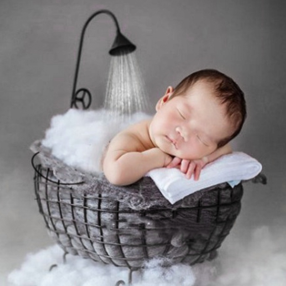 Baby Bathtub Photography Prop Rustproof Newborn Iron Basket Sofa Hollowed Out Posing Studio Photo Props Decora Durable Stable #