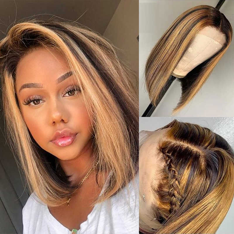Ombre Honey Blonde Highlight Lace Front Human Hair Wigs Straight Short Bob Wigs Pre Plucked 180 Brazilian Remy Human Hair 13x4 Human Hair Lace Wigs Aliexpress