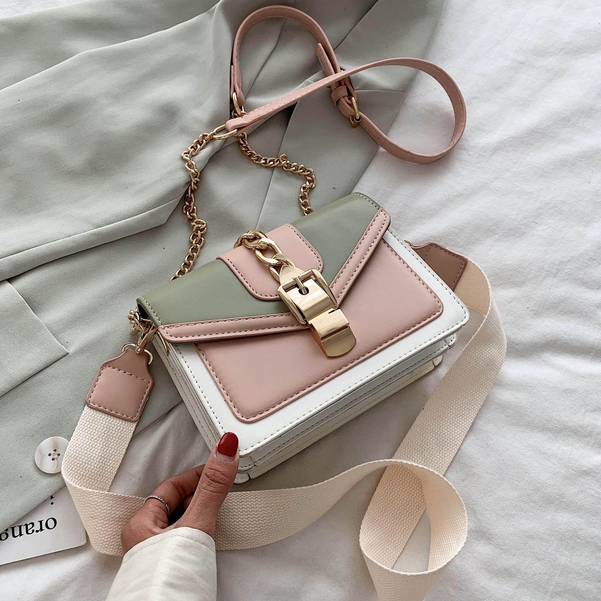 Contrast Color PU Leather Crossbody Bags For Women 2020 Summer Travel Small Handbag Shoulder Messenger Bag Ladies Cross Body Bag