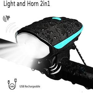 Велосипедный передний светильник и рога 2 в 1, дизайнерский перезаряжаемый велосипедный колокольчик, водонепроницаемый велосипедный свети...