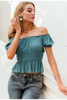 Blusa hombros descubiertos sexy verano vintage 1