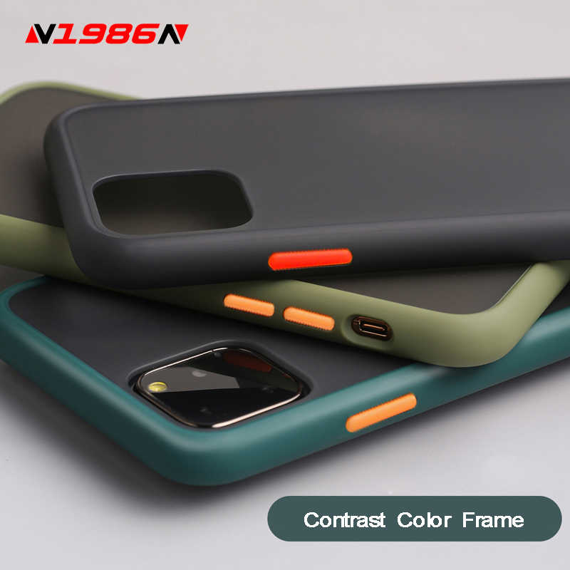 Funda de teléfono N1986N para iPhone, carcasa protectora de PC duro mate con marco de Color contrastante para 12 Mini 12 11 Pro X XR XS Max 7 8 Plus 6 6s SE 2