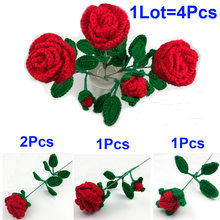 4 шт/лот Искусственные цветы украшение готовая пряжа ручная