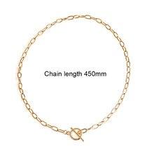 Colar do colar do pendente do fechamento da moeda de aço, presente longo da joia do colar da corrente transversale do ouro de aço