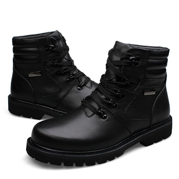 Big Size Men Leather Boots Winter Warm Men Motorcycle Boots 100% Real Leather Men Ankle Boots Glitter Genuine Leather winter men boots 100
