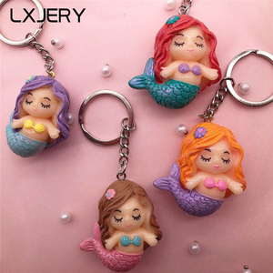LXJERY 4 Colors Cute Cartoon Mermaid Keychain Lovely Key Chain For Women Bag Charm Pendant Key Ring Gifts Jewelry