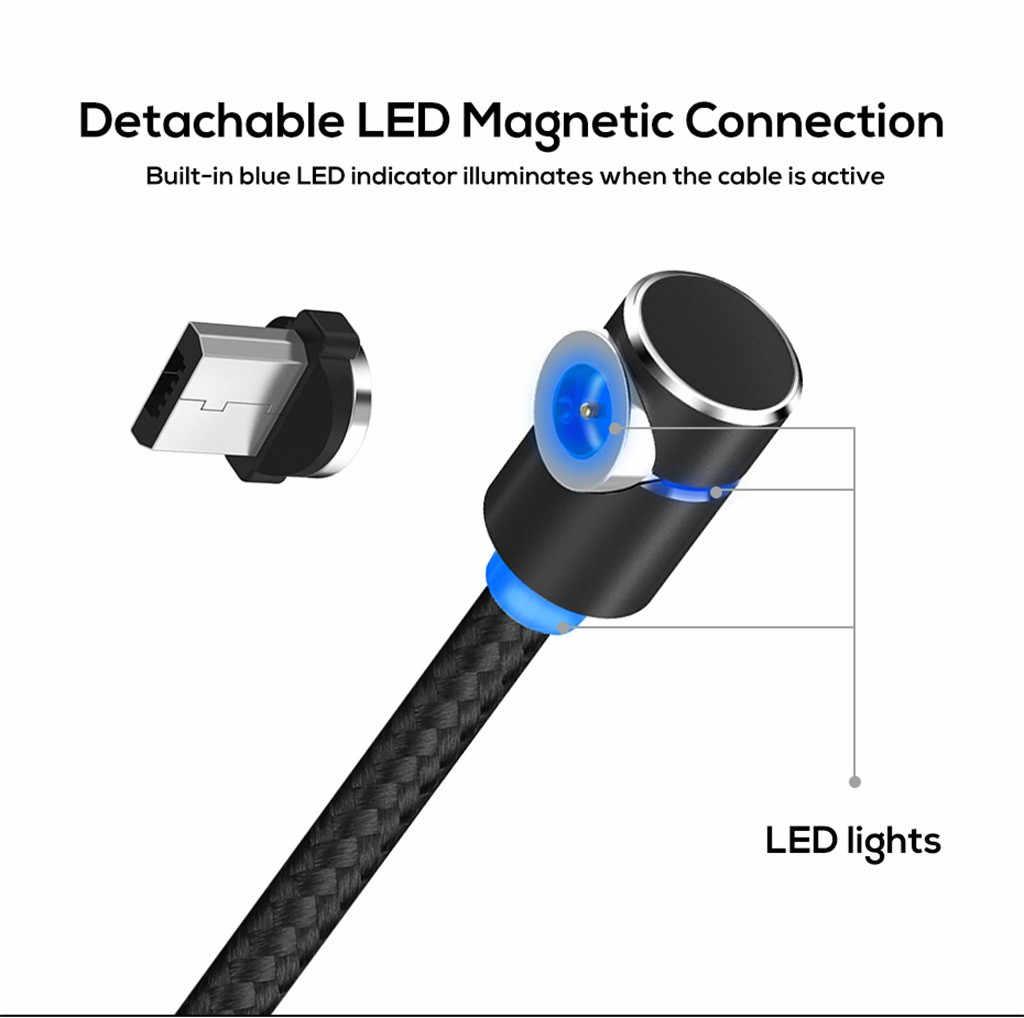 3in1 Caricatore Magnete Cavo di Tipo L 90 Gradi 1m Cavo USB Tipo C Cavo Magnetico Magnete LED Cavo del Caricatore per Samsung per Il Iphone