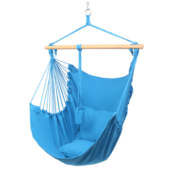 Garden Increase Lengthen Cushion Hang Chair Outdoor Furniture Hammock Swinging Hanging Rope Swing Seat With 2 Soft Pillows