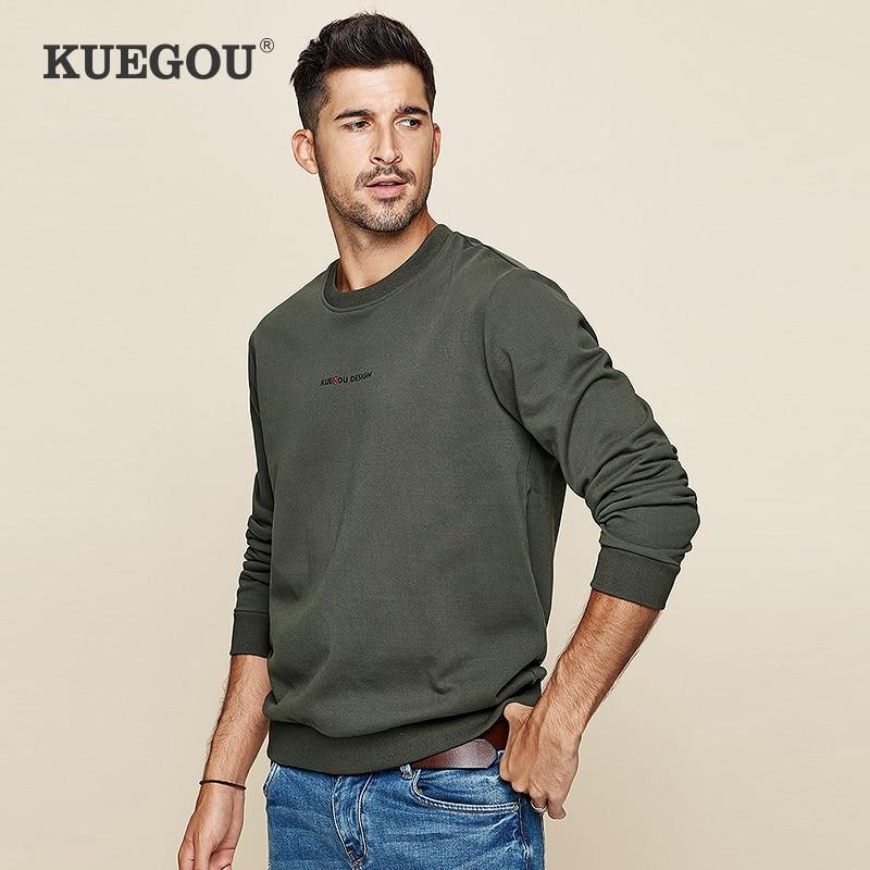KUEGOU 100% Cotton men's hoodies fashion autumn pure color printed letters tide male sweatshirts top plus size color MW-2239
