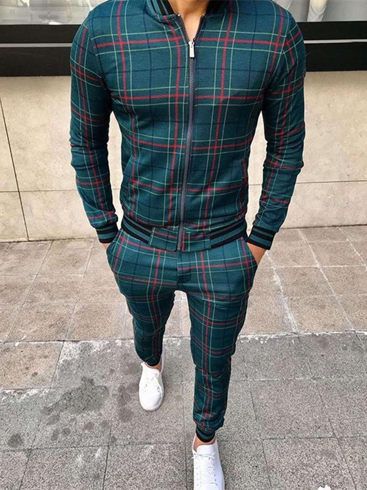Männer Casual Sport Anzug Herbst Dünne Zip-Up Mantel Hosen 3D Gedruckt Anzüge Outdoor Fashion Grid Trainingsanzug Streetwear kleidung