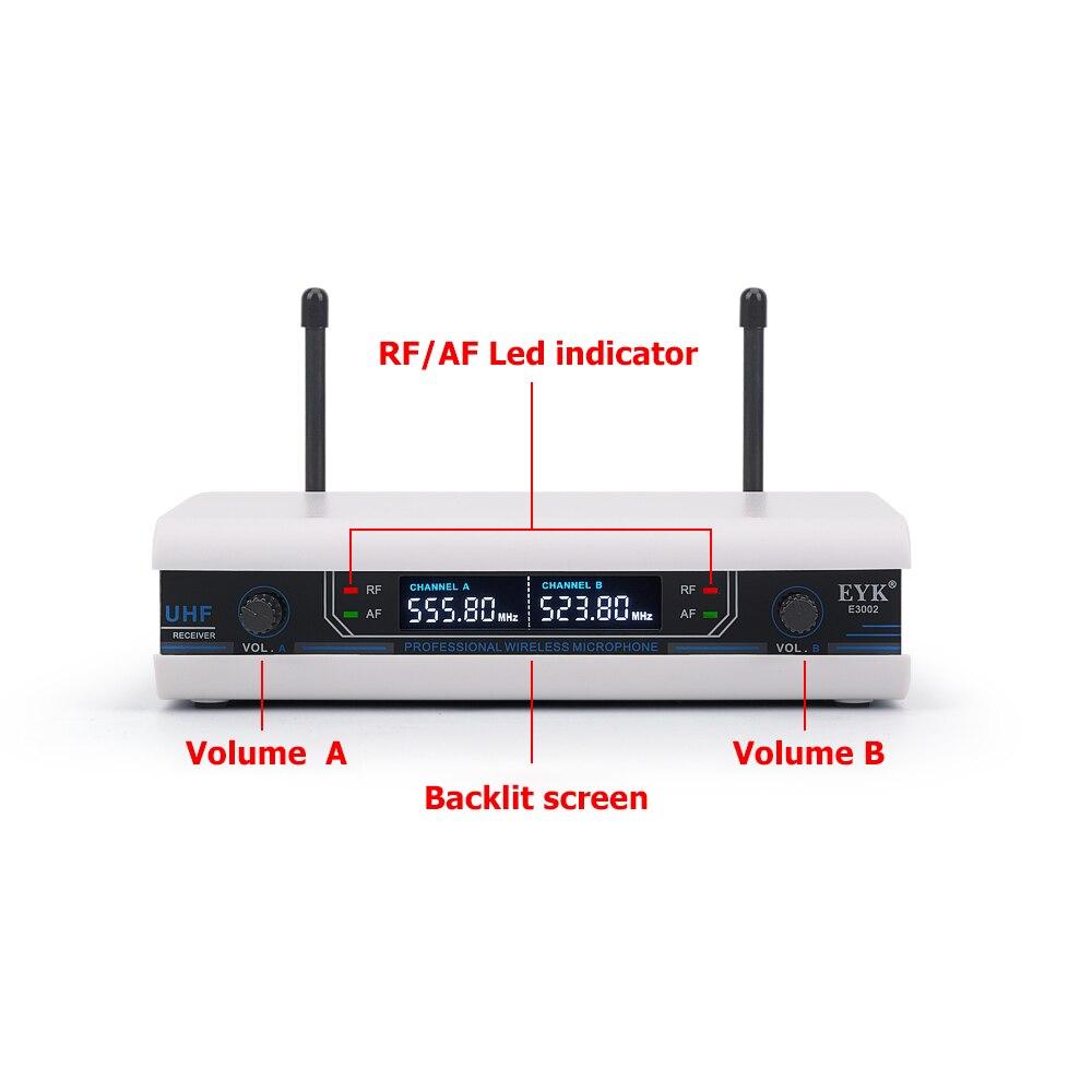 EYK E3002 professionnel système de Microphone sans fil karaoké UHF longue portée double émetteur de micro portable en métal avec fonction muet - 2