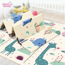 Infantil brilhante bebê jogar esteira 1.5cm dobrável portátil xpe antiderrapante insípido aprender escalada cozinha crianças tapete