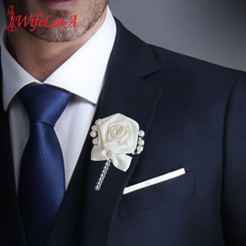 European Wedding Flowers Groom Groomsmen Boutonniere Wedding Prom Men Suit Lapel Pin Silk Ribbon Ceremony Flower Brooch X8715