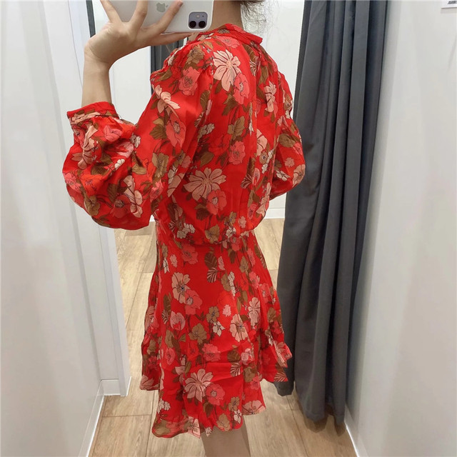 Red Floral Printed Chiffon Mini Dress Women Za 2020 Fashion Bow O-neck Pleated Long Sleeve Dress Woman Vintage Elegant Dresses 4