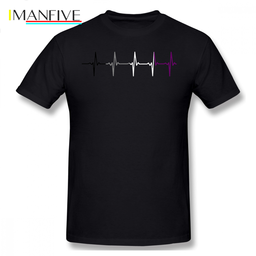 <font><b>Asexual</b></font> T Shirt <font><b>Asexual</b></font> <font><b>Pride</b></font> Heartbeat T-Shirt Short Sleeves Graphic Tee Shirt 100 Cotton Funny Fashion Male Plus size Tshirt image