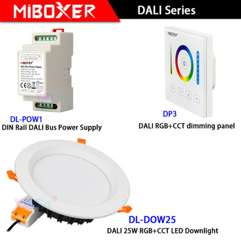Miboxer DL-DOW25 DALI 25W RGB+CCT LED Downlight compatible DP3 touch panel DL-POW1 DIN Rail DALI Bus Power Supply фото