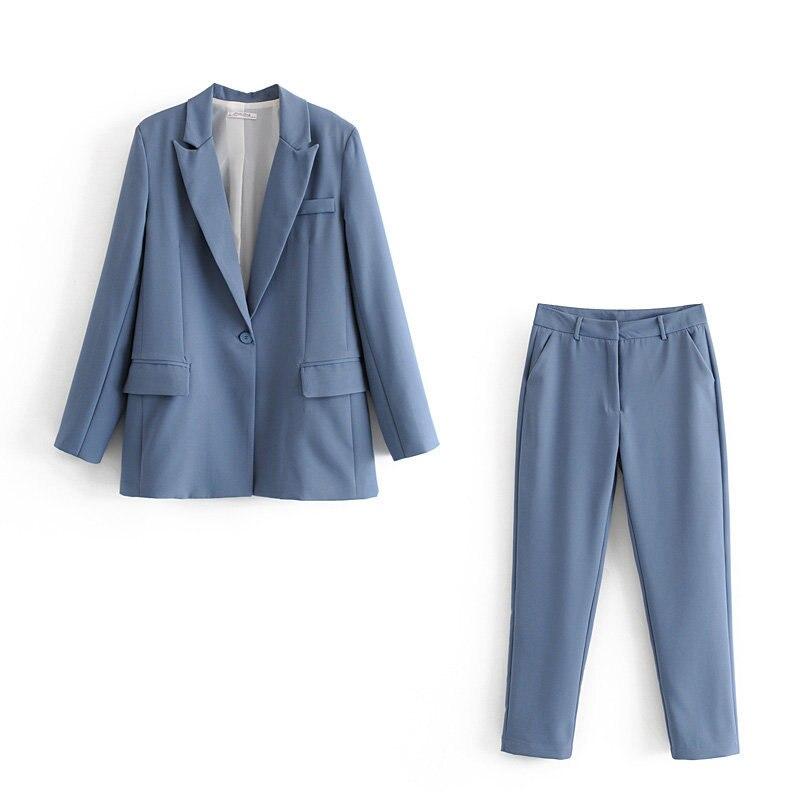Casual Women's Pants Suit Two-piece 2019 New Autumn Slim Solid Color Ladies Jacket Blazer Slim Trousers Women's Suits