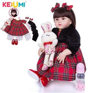 KEIUMI Full Body Silicone Vinyl Reborn Baby Dolls 23 Inch 55 CM Waterproof Bebe Dolls Toy Gift For Child Birthday XMAS Surprise