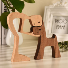 Lovely Family Wood Puppy Ornaments Decoration Home Figurine Desktop Table Ornament Sculptures Dog Lover Gift ecoracion del hogar