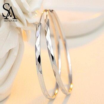 SA SILVERAGE 60mm 55mm 50mm 45mm 40mm Silver 925 Huggie Earrings Fine Jewelry Hoop Women Long