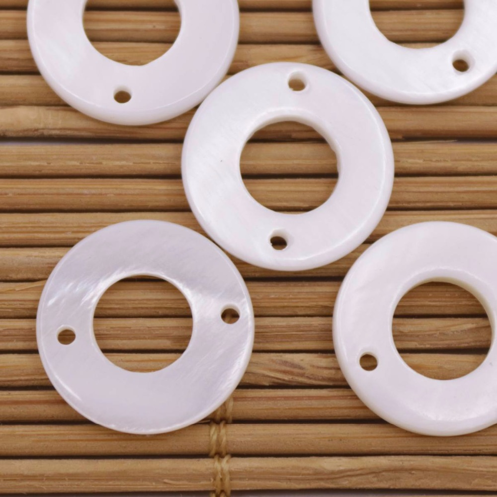 Купить с кэшбэком 5 PCS 15mm circular Shell Natural White Mother of Pearl Loose Beads Two Hole