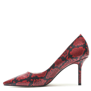 YECHNE Snake skin Pattern of women High heels Shoes Sexy hooks Female Punch Shoes Stiletto Brilliant Hooks Pumps Red Blue