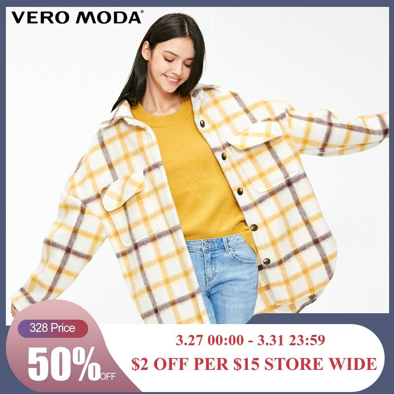 Vero Moda Women's Plaid Printed Pocket Loose Fit Jacket | 318409503