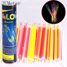 3UMUeter 100PCS 8 Color Glow Stick Safe Light Stick Necklace Bracelets Fluoresce