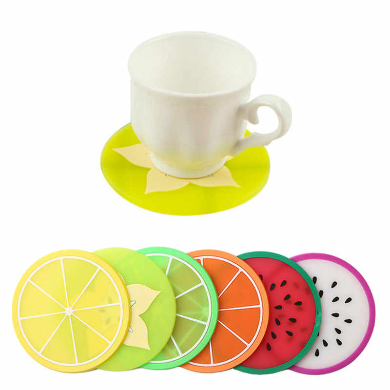 Familysky 1 PC 9 Cm Buah Table Mat Warna-warni Lucu Silikon Bulat Semangka Lemon Orange Coaster Piala Bantal Tahan Panas pad