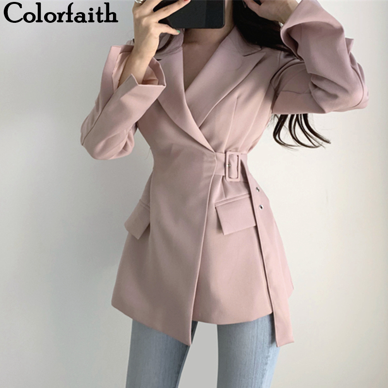 Colorfaith New 2019 Autumn Winter Women Jackets Office Ladies Lace Up Formal Outwear Elegant Solid Pink Black Tops JK7042