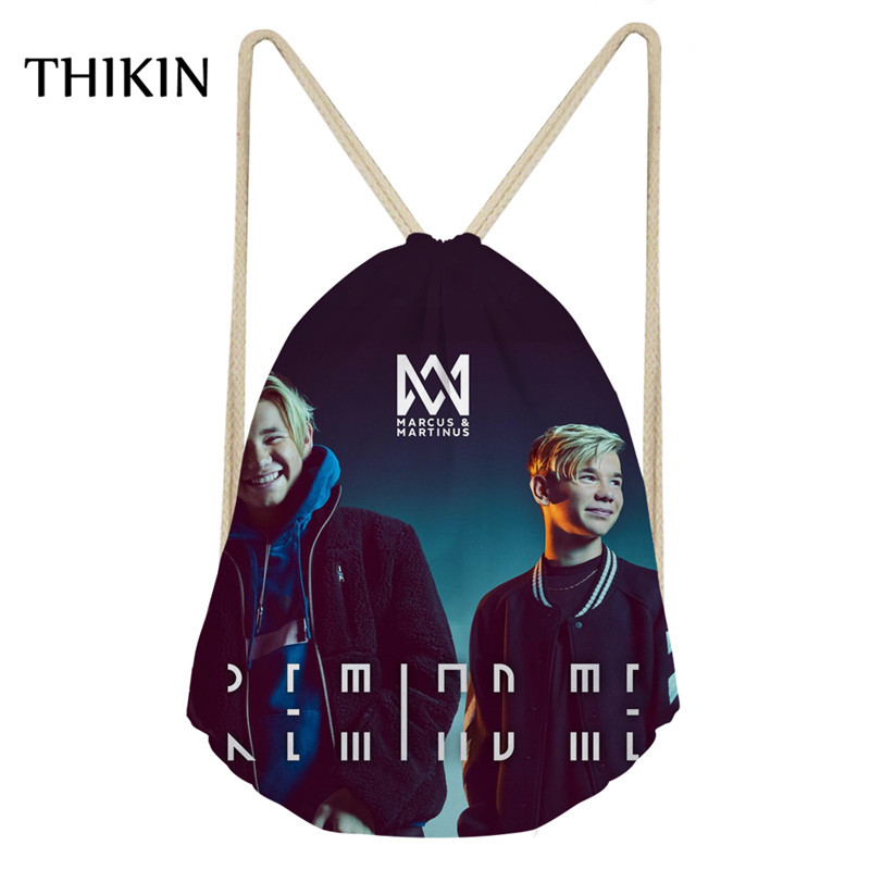 THIKIN Fashion Brand Star Pattern Gym Bags Marcus And Martinus Printing Women Drawstring Bags Hiking Sack For Teenager Rucksack