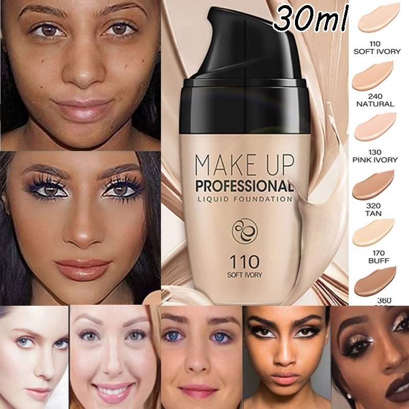 30ml Professional Full Coverage Liquid Foundation Natural Concealer Whitening Matte Base Facial Makeup