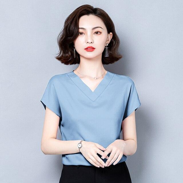 Korean Silk Women Blouses Tops Woman Satin Shirt Top Women Solid V Neck Blouse Lady Top Plus Size 4XL Blusas Femininas Elegante 3