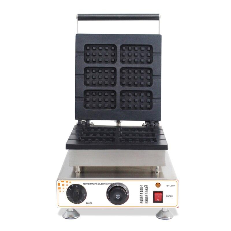 commercial non stick 6pcs electric belgian waffle maker machine waffle on a stick iron machine