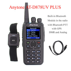 Anytone AT-D878UV PLUS digital DMR and Analog walkie talkie with GPS APRS bluetooth PTT Dual band Two way radio with PC Cable