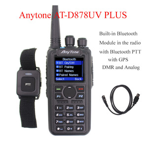 Image 1 - Anytone AT D878UV PLUS digital DMR and Analog walkie talkie with GPS APRS bluetooth PTT Dual band Two way radio with PC Cable
