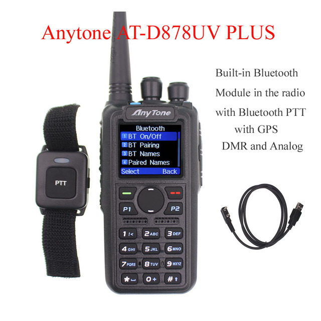Anytone AT D878UV PLUS digital DMR and Analog walkie talkie with GPS APRS bluetooth PTT Dual band Two way radio with PC Cable