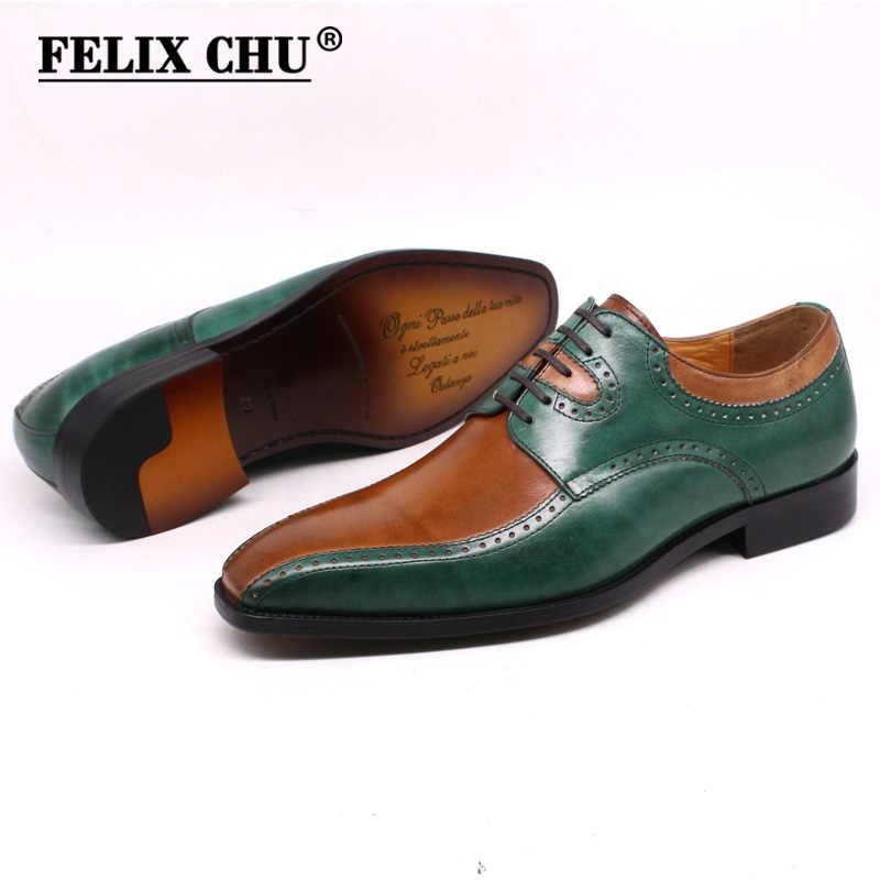サイズ13男性イタリアの靴手作りメンズドレスシューズ本革グリーン & ラクダレースアップウェディングダービー靴男性のための