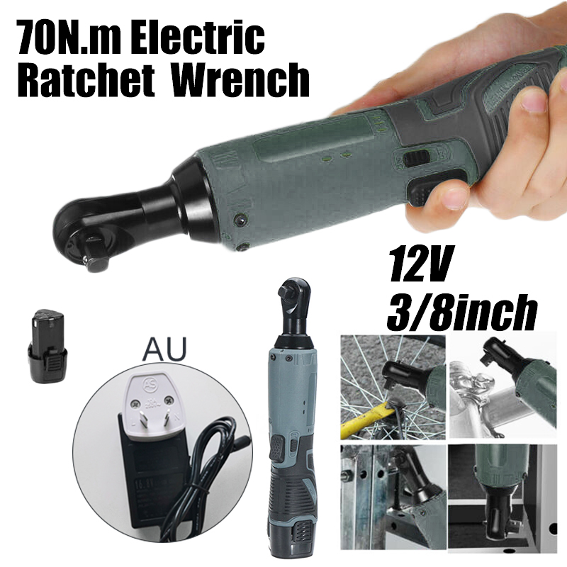 12V Electric Ratchet Wrench Cordless Ratchet Right Angle Wrench 3/8in Tool With 6000mAh Battery Charger For Operation In Dark