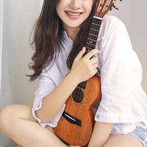 Image 5 - カカマッドウクレレ固体マホガニー黒青仕上げバッグエンヤ ukeleles ハワイ 4 弦アコースティックギター楽器