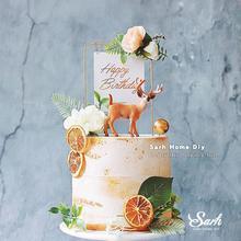 W stylu leśnym kwiat żelaza szczęśliwe wykończenie do tortów urodzinowych zabawne na wesele dekoracje do ciast do pieczenia Ins piękne prezenty