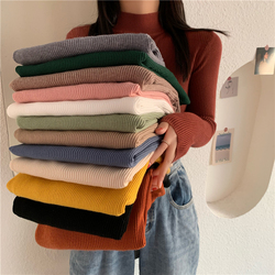 55% OFF 2021 Spring Women long sleeve Turtleneck Elasticity Casual Jumper pull sweaters office pullover korean Female Top shirts