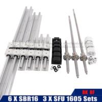 SBR16 cnc sets linear guide any length 6 sets linear rail + linear bearing blocks+SFU1605 ball screw+DSG16H nut