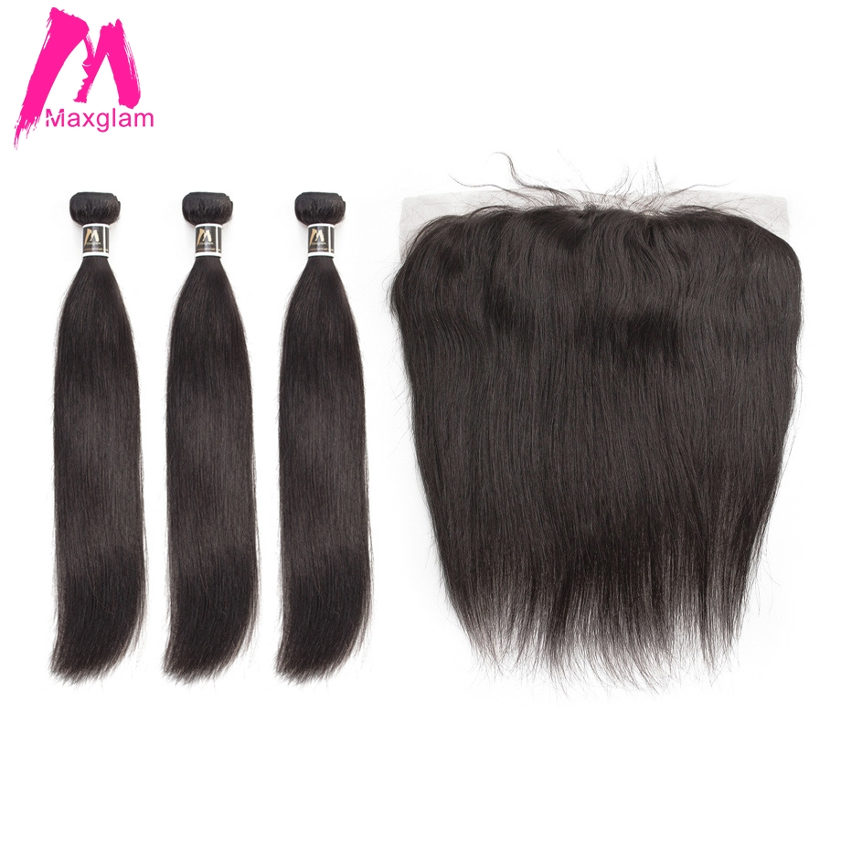 Cabelo liso pacotes com frontal remy brazillian cabelo weave bundles 3 pré depenado curto longo da extensão do cabelo humano bundles