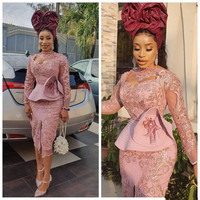 Blush Pink Tea length Prom Dresses with Long Sleeve 2020 Aso Ebi Lace Applique Ruffles Peplum African Evening Occasion Gown