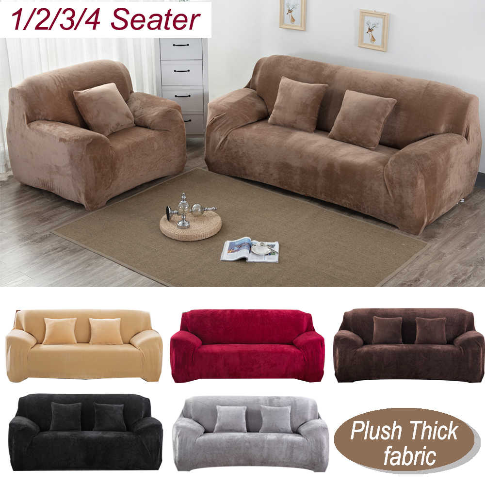 1 Pc Pluche Dikker Sofa Cover Elastische Voor Woonkamer Sectionele Stretch Couch Cover L Vormige Hoek Hoes 1/ 2/3/4 Zits
