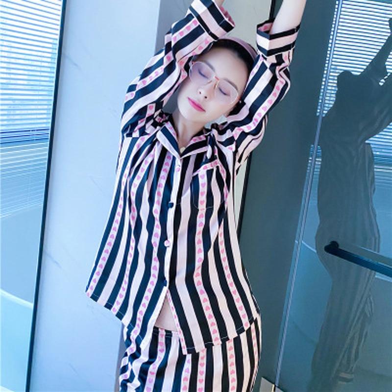 QWEEK Silk Pyjamas Sleepwear Pijamas Women Sleep Lounge Satin Nightwear 2020 Fashion Print Women Pajamas Set Home Clothes